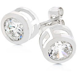 Silvertone Bezel-set Cubic Zirconia Stud Earrings