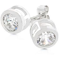 Silvertone Bezel-set Cubic Zirconia Stud Earrings