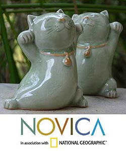 Good Luck Cats Maneki Neko Fortune Felines Set of Two Green Celadon Ceramic Animal Figurines Decor Accent Sculptures (Thailand)