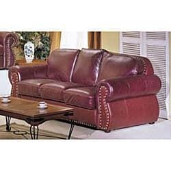 San Joaquin Burgundy Leather Sofa
