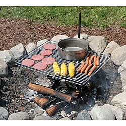 Carbon Stainless Steel Outdoor Cooking Picnic BBQ Barbeque Grill Camp Fire O2F4