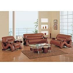 Shop Dolcetto Dark Brown Leather 3 Piece Furniture Set