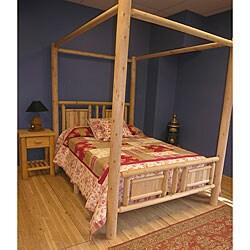 Shop Log Pole Cedar Slat Adirondack Twin Canopy Bed Free