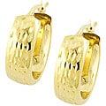 14k Yellow Gold Diamond-cut Wide Hoop Earrings