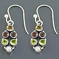 Sterling Silver Multi-gemstone Dangle Earrings (3 mm) (India)