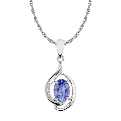 Viducci 10k White Gold Genuine Oval Tanzanite and Diamond Pendant Necklace