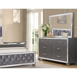 Best Master Furniture Sedona Silver Bedroom Dresser and Mirror