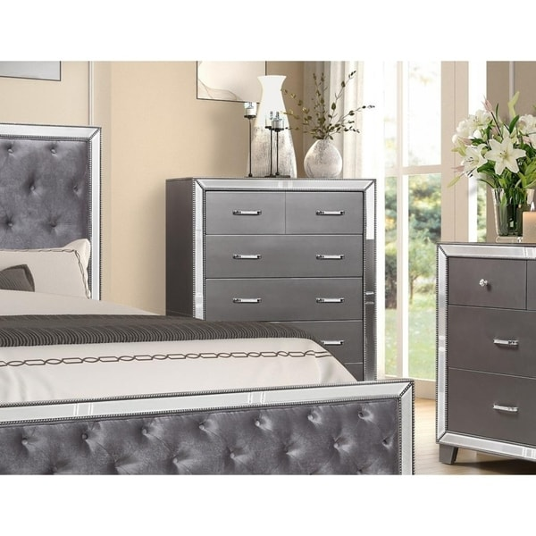 Best Master Furniture Sedona Silver Bedroom 5 Drawer Chest