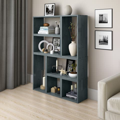 Carson Carrington Shorewood Modern 7 Block Wood Shelving Set