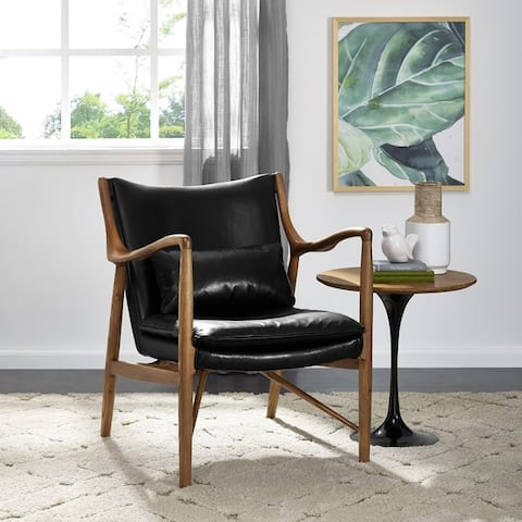 Mid-Century Modern Wood and Leather Accent Chair