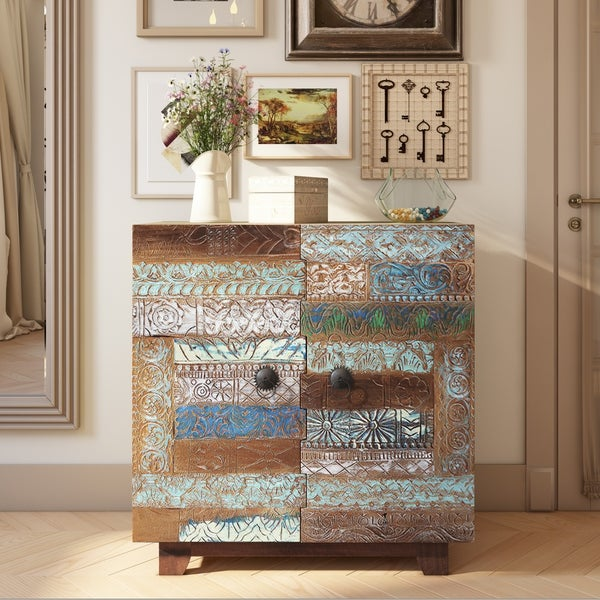 The Curated Nomad Rayner Patchwork Design 2 Door Wood Chest
