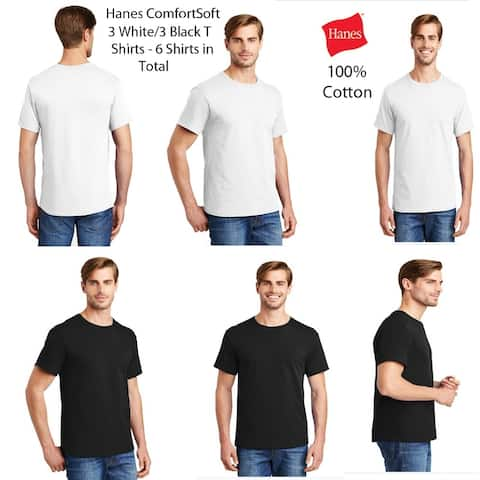 Hanes Mens (6 PACK) ComfortSoft 100% Cotton T, 3 White/3 Black