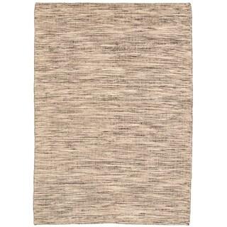 Hand Loomed Bungalow Black, Ivory Wool Rug ECARPETGALLERY - 5'5 x 7'4