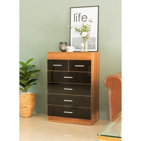 Modern Wooden Chest with 4+2 Drawers, Natural and Black