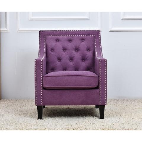 Classic Fabric Tufted Nailhead Trim Armchair