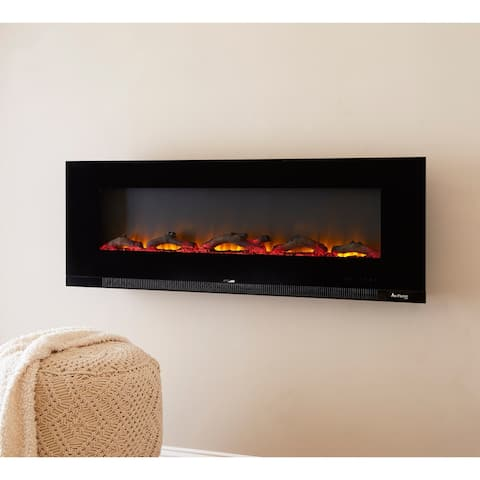 Strick & Bolton Kishi Black Wall-mounted Electric LED Fireplace
