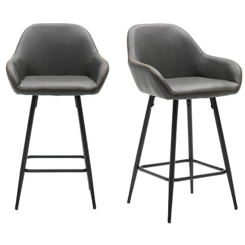 "29"" Bucket Upholstered Dark Gray Accent Dining Bar Chair Set OF 2 - 29 Inch Seat Height"