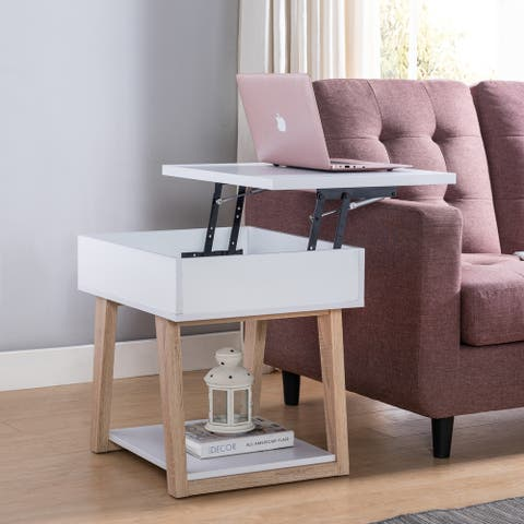 Furniture of America Willen White Contemporary Lift-Top End Table