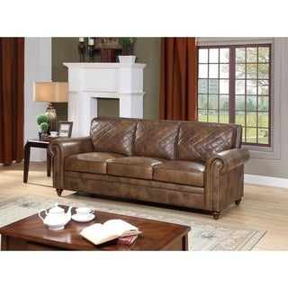 Malati Brown Italian Leather Sofa