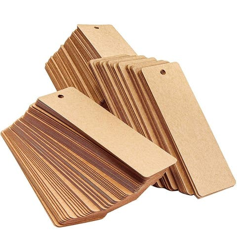 300PCS Blank Kraft Bookmarks for DIY Crafts Hanging Gift Tags, 2 x 6 Inches