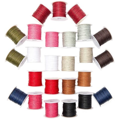 Genie Crafts 1mm Waxed Cotton String Thread Cord (25 Pack), Assorted Colors