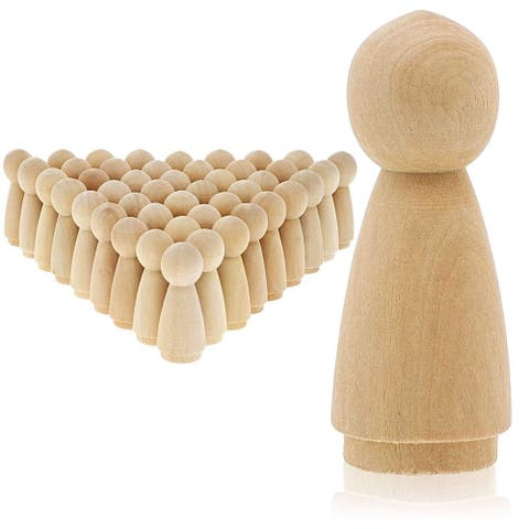 Bright Creations 50-Pack Unfinished Wood Peg Woman Doll Bodies for DIY Crafts