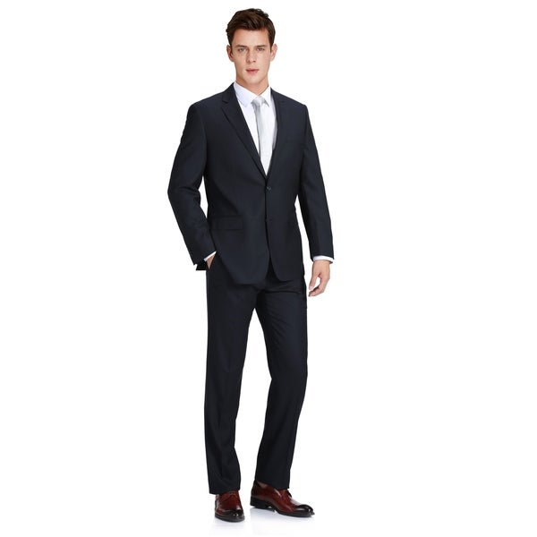 Mens Classic Fit Virgin Wool And Silk-Blend Two Piece Suit by  Spacial Price