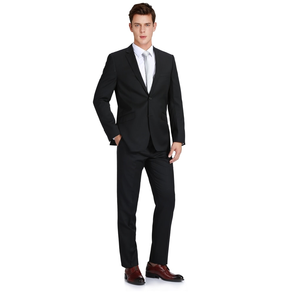 Alfani RED Slim Fit Gray Striped Two Button Flat Front Suit