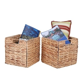 """Sophia&William 2-Pack Foldable Handwoven Water Hyacinth Cube Storage Basket with Handles - 10.6"""" L x 10.6"""" W x 11"""" H"""