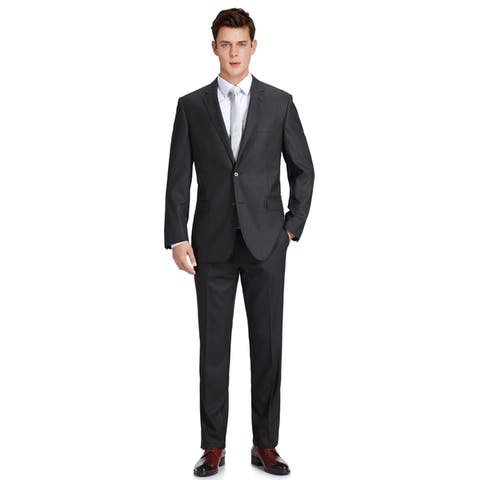 Men's 2 Piece Classic Fit Two Button Black Wool Suits