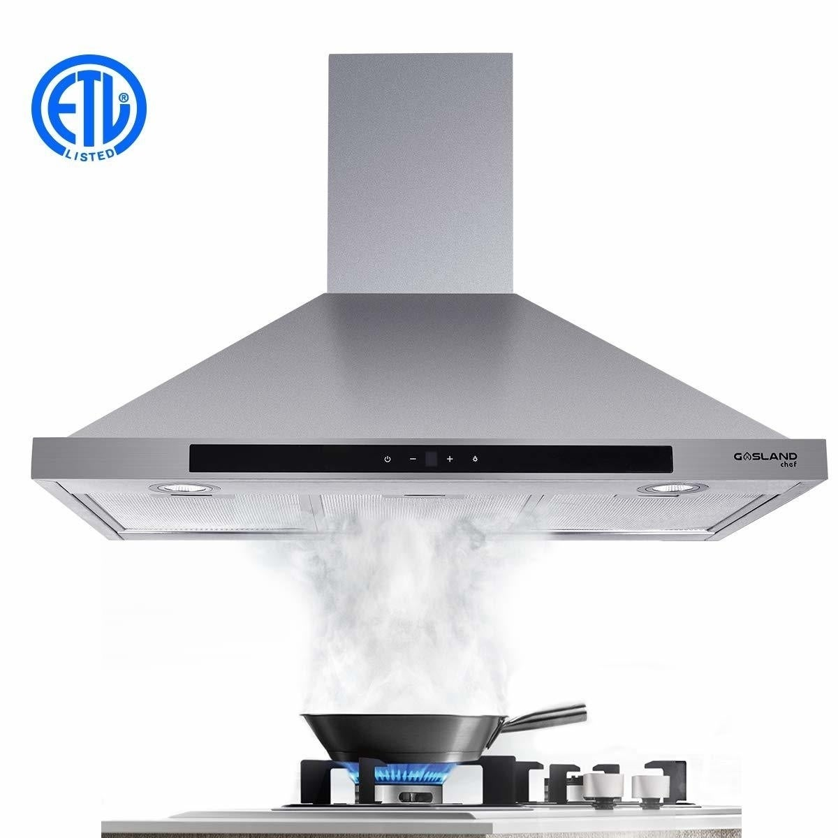 Winflo 30 Wall Mount Stainless Steel Convertible Range Hood with 450 CFM Air Flow Aluminium Mesh Filters and LED Lights