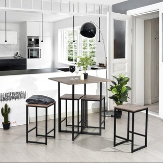 Furniture R 5 Piece Pub Dining Set Bar Height Kitchen Table with 4 Stools