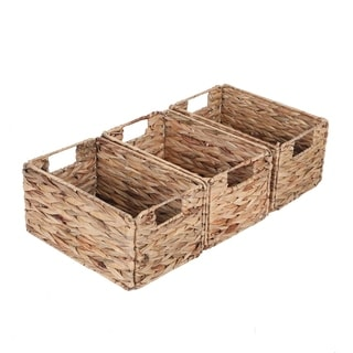 Sophia&William 3-Pack Foldable Handwoven Water Hyacinth Rectangular Storage Basket with Handles