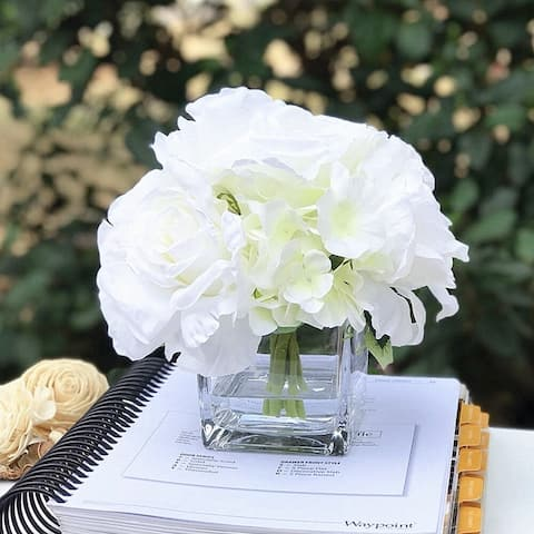 Enova Home Mixed Cream Rose and Hydrangea Flower Arrangement in Cube Glass Vase with Faux Water For Home Decoration