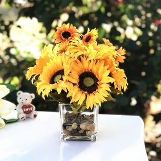 Enova Home Mixed Sunflower Arrangement in Cube Glass Vase With River Rock and Faux Water For Home Office Decoration