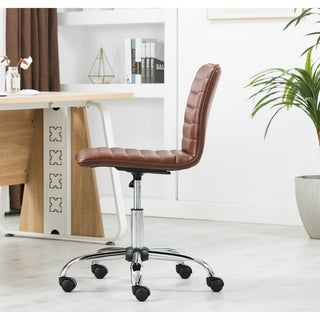 Carbon Loft Glusman Ribbed Faux Leather Swivel Computer Office Chair