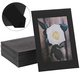 "50 Pack Cardboard Photo Picture Frame Easel with Attached Stand, 4"" x 6"" Black"