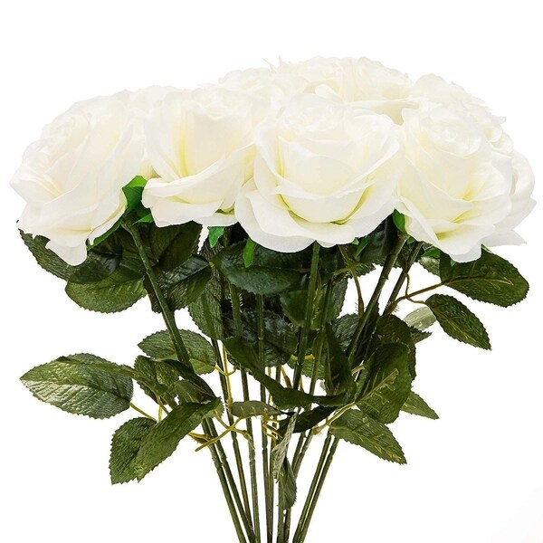 12x White Fake Flowers, Artificial Silk Roses Arrangement Bouquet Party Décor