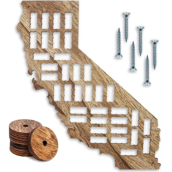"California Map Wood Wine Cork Holder Board for Wall Décor, L26 x H9.8 x W0.24"""