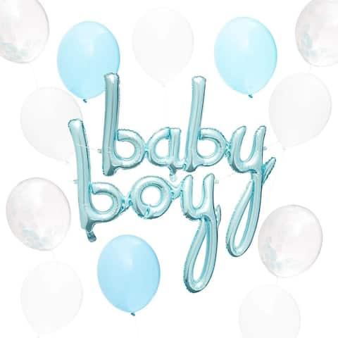 52PCS Baby Shower Balloons for Baby Boy Party Decoration, Blue and White