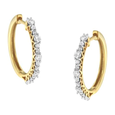 Yellow Gold Plated Sterling Silver 1ct TDW Diamond Hoop Earrings (J-K, I2-I3)