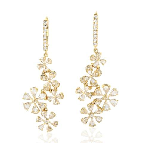 18k Yellow Gold Diamond Designer Dangling Earrings Jewelry By Artisan