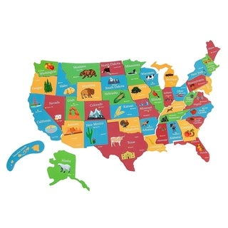 Juvale 44pcs Magnetic U.S. Puzzle Map for Kids, 19 x 13 Inches