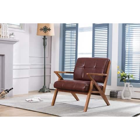 Carson Carrington Hocklehult Tufted PU Leather Accent Slipper Chair