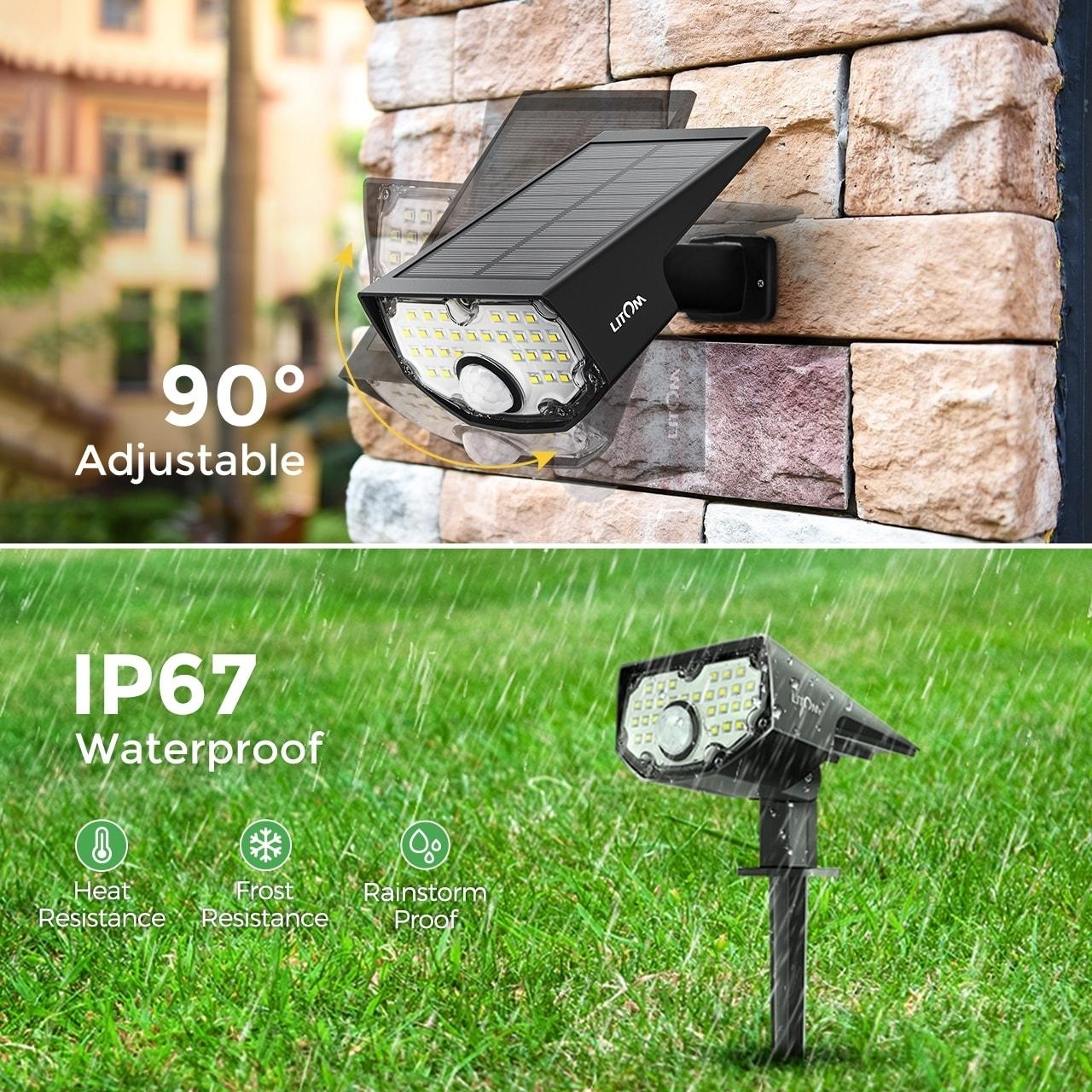 30 LED Solar Power Dual Lights Flood Lamp Security Motion Sensor Outdoor Garden