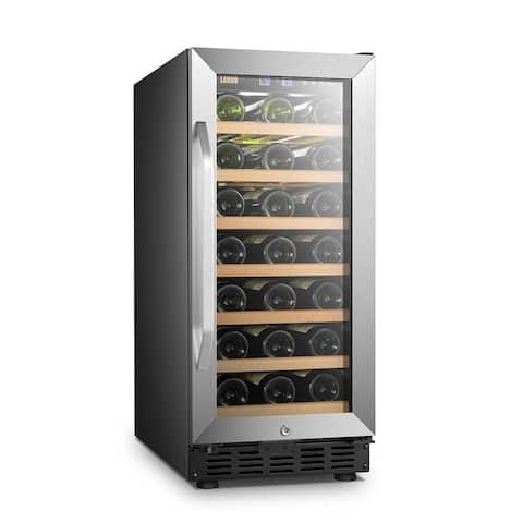 Lanbo 15 Inch Built In Compressor Wine Fridge Cooler, 33 Bottles
