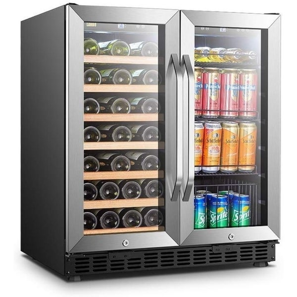 Lanbo 30 Inch Built-in Wine and Beverage Cooler, 33 Bottle and 70 Can