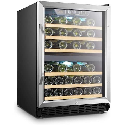 Lanbo 24 Inch Built-in Dual Zone Compressor Wine Cooler, 44 Bottle