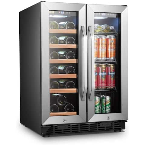 Lanbo Built-in Wine and Beverage Refrigerator, 18 Bottle and 55 Can