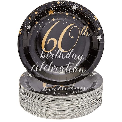"""Sparkle and Bash 60th Birthday Paper Plates (80 Count), 9"""", Gold Black"""